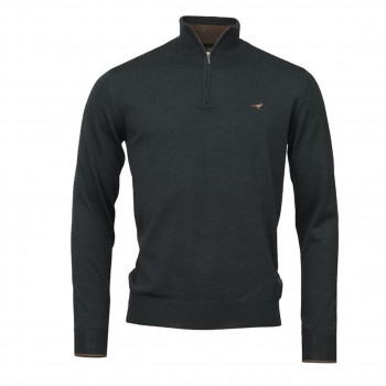 Laksen Norfolk Zip-neck Merino Pine