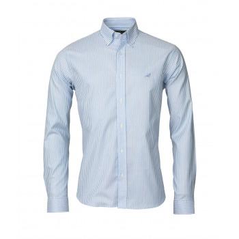 Laksen Eton Stripes Skjorte blå
