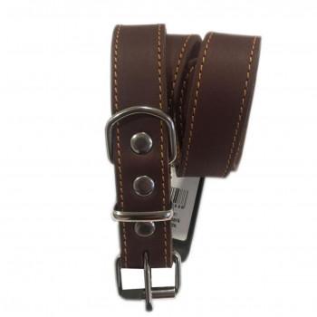 Læderhalsbånd brun 65 cm.